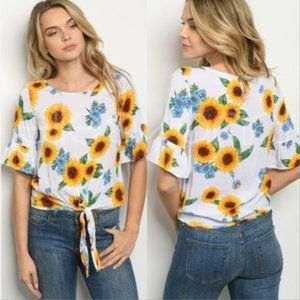 Sunflower & Floral Print Tie Front Top